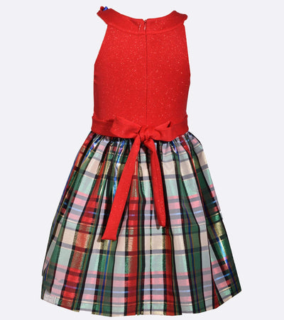 Girls Plus Size Christmas Dress with Plaid Skirt and Bow