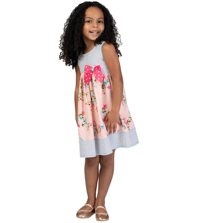 girls summer dress with floral and bow detail