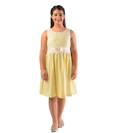 Linen and lace yellow plus size girls dress