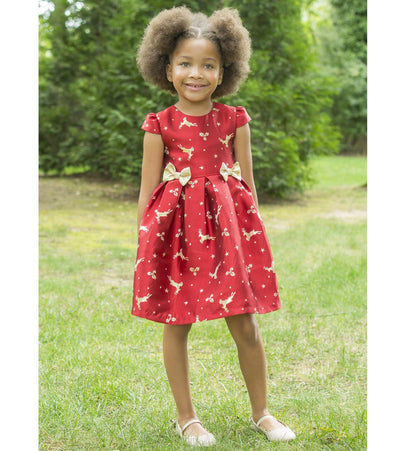 Baby girls Christmas dress with jacquard reindeer print and bows