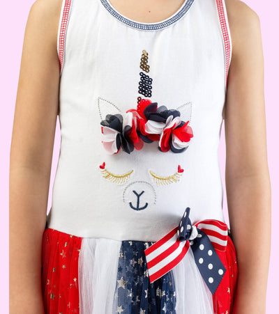 unicorn, americana, girls americana dress, red white and blue, sister style, matching sister dress, unicorn