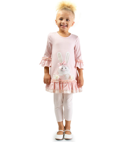 Bunny Applique Girls Easter Outfit with ruffles and foil