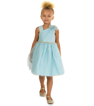 one shoulder party dress for girls with sparkle mesh dress with waist trim