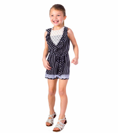 summer romper, romper for girls, girls outfit, polka dots, cute, trendy,
