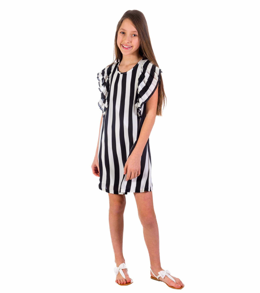 black and white stripe, dress, tween dress, flutter sleeve, tween fashion,