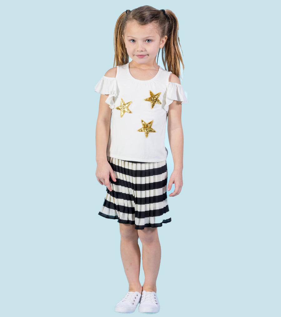 trendy outfit, skirt set for girls, little girls skirt, star, sparkle, stripes