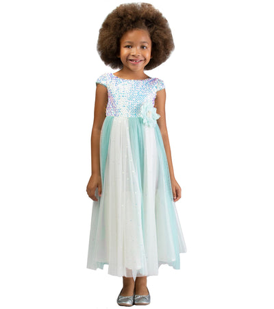 Party dress for girls sparkle ballgown with sequin bodice and mesh panel skirt