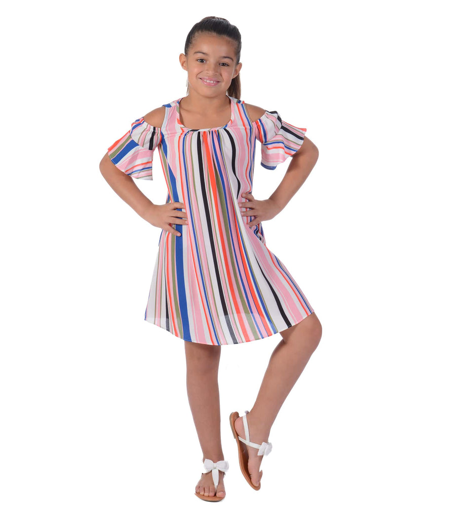 tween dresses, trendy, stripes, cold shoulder, off the shoulder, pink, blue