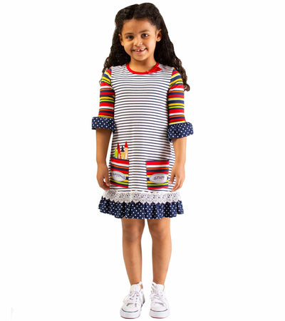 Girls Back to School Crayon Applique Dress