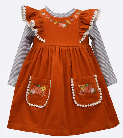 girls corduroy jumper with pumpkin embroidery