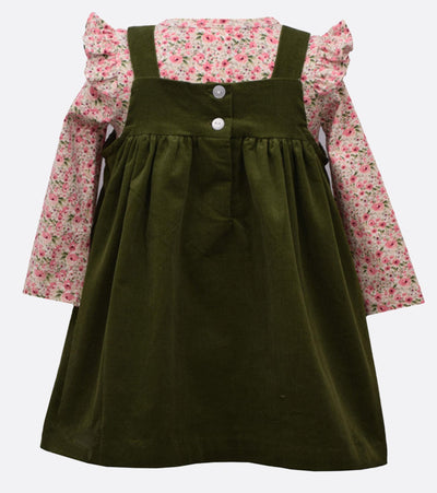 little girl floral corduroy jumper