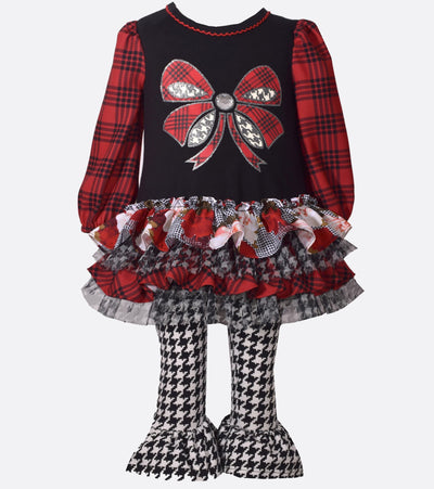 little girl, legging set, plaid, bow, houndstooth, ruffle skirt, fall outfit, fall, plaid