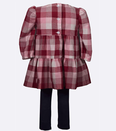 Plaid dress with pom pom detail and coordinating legging for girls