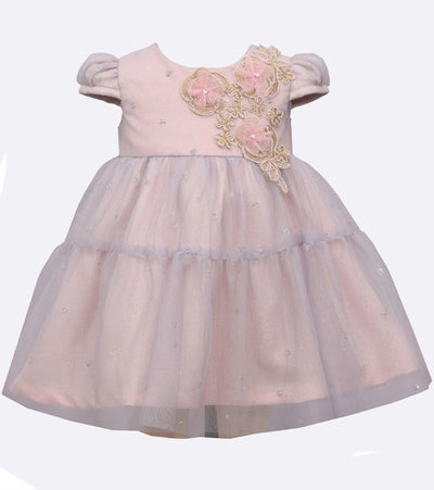 Sparkly Mesh Baby Girls Party Dress with Large Floral Applique