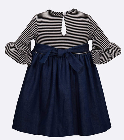 Cute striped dress for girls with buttons and pockets