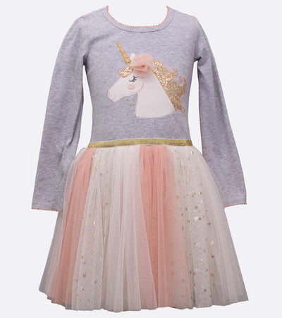 Rainbow unicorn dress for little girls