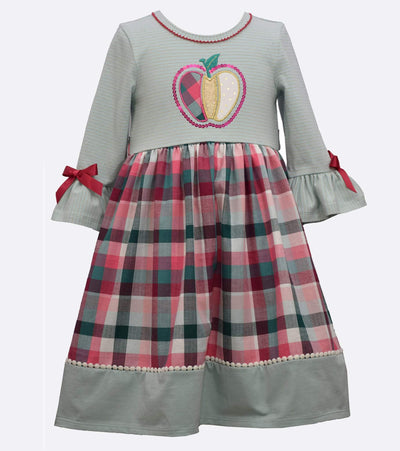 little girls pumpkin dress with plaid skirt