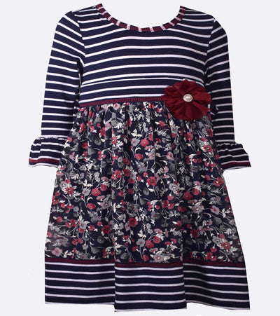 little girl dress, floral, stripe, casual dress, back to school, fall dress, dress for girls, floral dress
