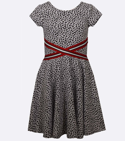 Cheetah skater dress for tweens with athletic banding