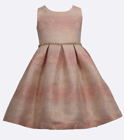 Pink Shimmery Jacquard Girls Special Occasion Dress