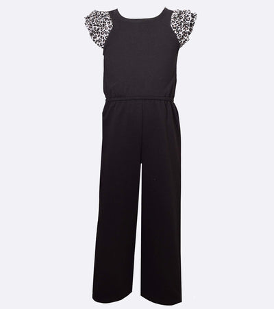 Jumpsuit for girls with cheetah ruffle sleeve