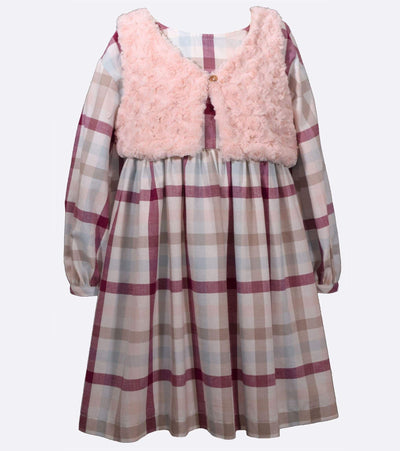 Plaid Twill Big Girl Dress with Fur Vest to Match little sister Lily Legging