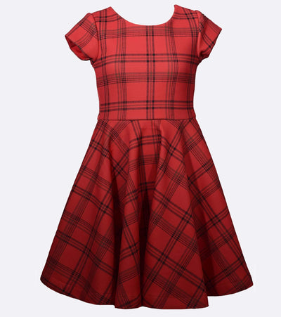 Tween girls plaid skater dress with peekaboo back detail for Christmas