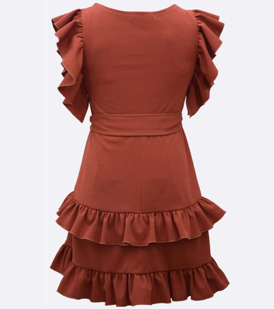 tween ruffle dress with self tie waist