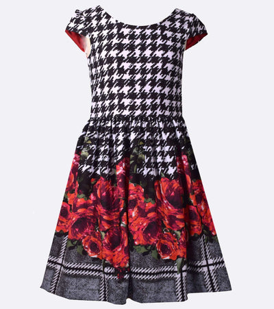 houndstooth, girls party dress, big girls party dress, floral, fall dress, dresses  for fall