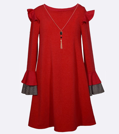 Girls sweater dress with ruffle shoulder bell sleeve and attached necklace