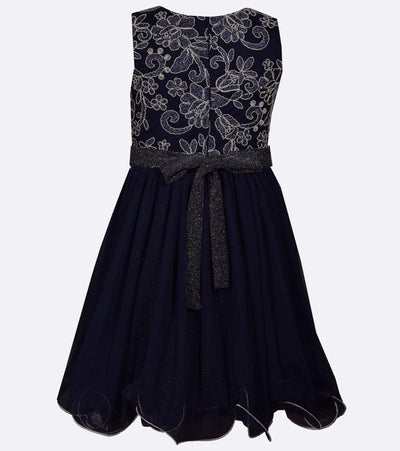 Tween dress with lace bodice and sparkle waist trim