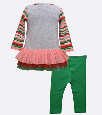 Santa Applique Girls Christmas outfit with legging