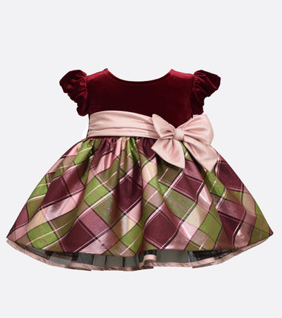 Baby Girl's Party Dress Stretch Velvet to Plaid