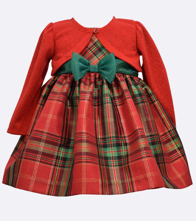 Matching sister dresses for Christmas with red and green plaid and cardigan