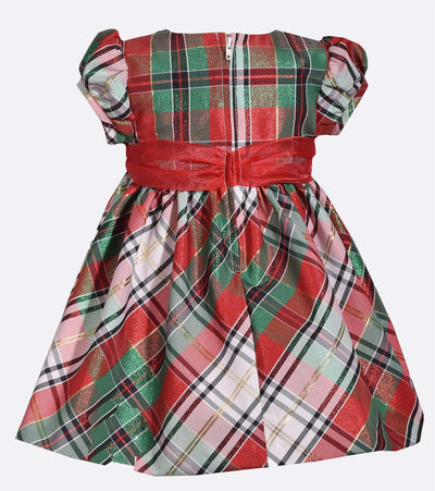 plaid red and green, christmas dress for baby girl, little girls christmas dress