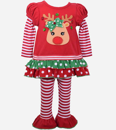 Baby girls christmas outfit, Reindeer, Red and Green, Baby Christmas Outfit