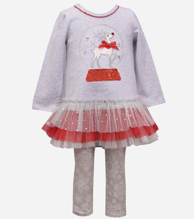 Baby girls Christmas outfit with a reindeer snow globe applique and tutu