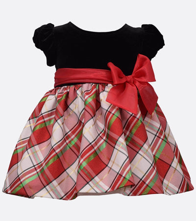 Christmas dress for girls with stretch velvet bodice, plaid skirt and bow detail