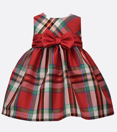 girls holiday plaid dress with stretch velvet cardigan