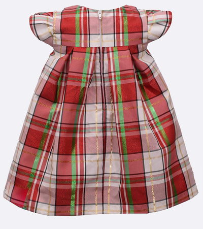 Baby girl Christmas dress with red, green, gold plaid and an oversize bow
