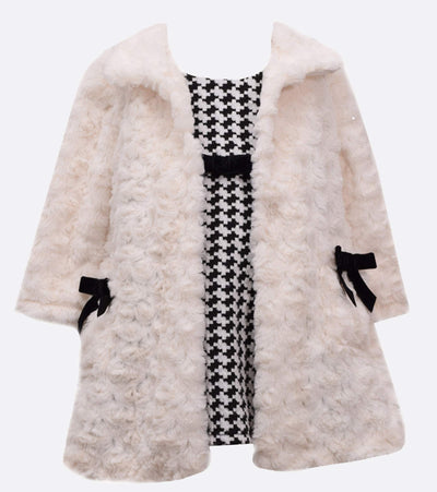 Little girls dress and furry coat set