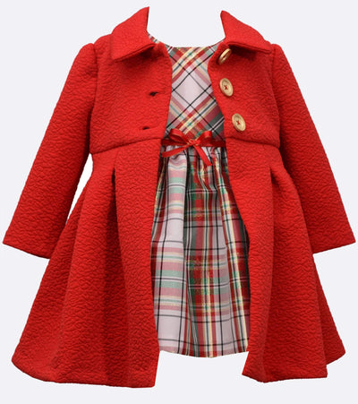 2 piece set plaid dress with textured knit coat with gold buttons
