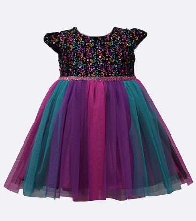 party dress with multi color sequin top and rainbow mesh skirt