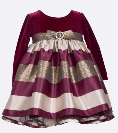holiday dress for girls with stretch velvet bodice and taffeta stripe skirt