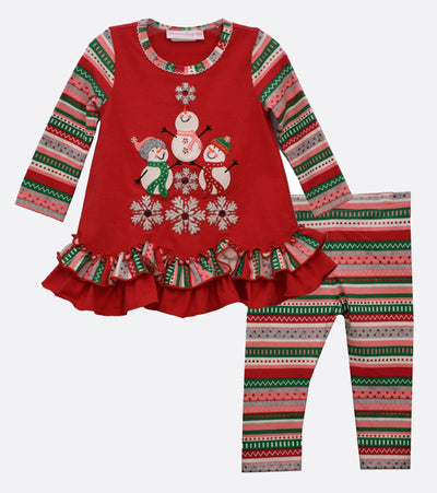 little girl snowman holiday legging set