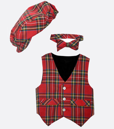 Matt Plaid Vest and Tie Set