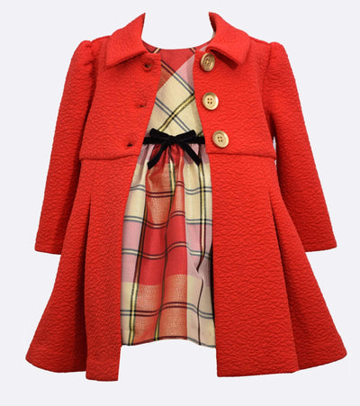 Matching sister dresses for Christmas Coat and plaid taffeta dress set
