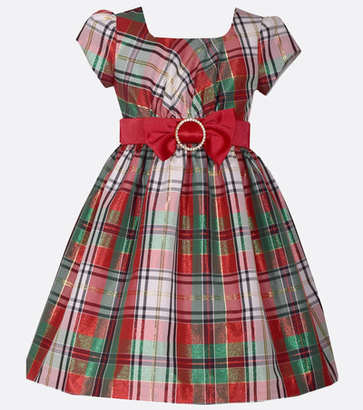 plaid, red and green, christmas dress for girl, girls christmas dress, girls holiday dress