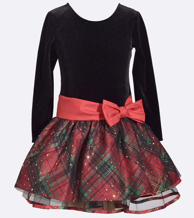 Matching sister outfit for Christmas with stretch velvet bodice and plaid sparkle skirt