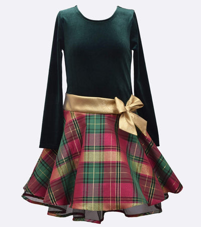 girls holiday dress with stretch velvet bodice, plaid skirt and bow at waist